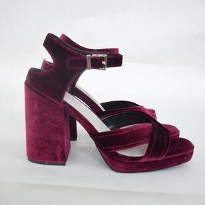 Seven Dials Burgundy Velvet Chunky Heels (Sz 10)
